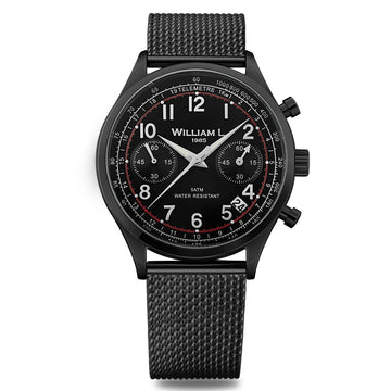 William L. 1985 WLIB01NRMMN Men's Chronographs Vintage Style Black Dial Black IP Mesh Bracelet Watch