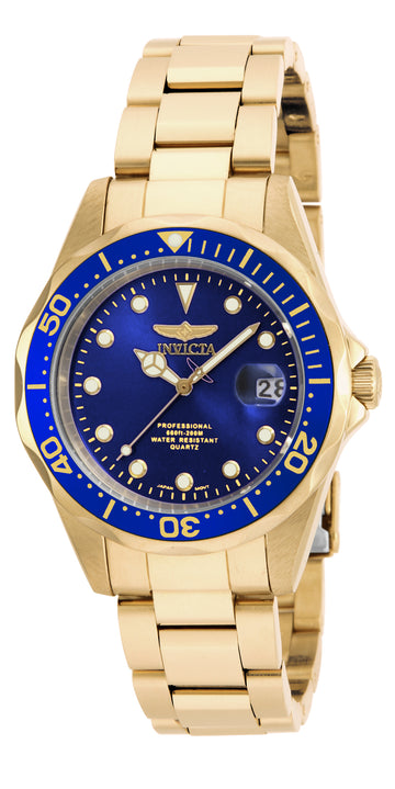 Invicta 17052 Men's Yellow Steel Bracelet Quartz Pro Diver Blue Dial Date Watch