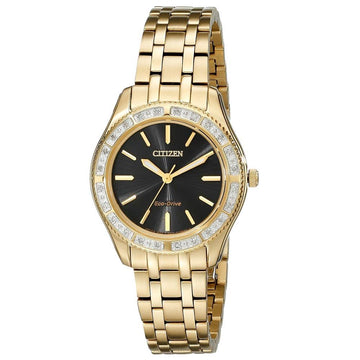 Citizen EM0242-51E Women's Yellow Stainless Steel Eco Drive Carina Diamond Black Dial Watch