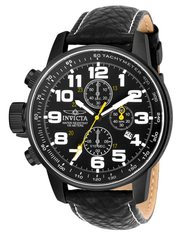 Invicta Men's Chronograph Leather Strap Watch - S1 Rally Lefty Black Dial | 3332