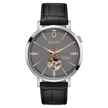 Bulova 98A187 Men's Classic Automatic Grey Semi-Skeleton Dial Black Leather Strap Watch