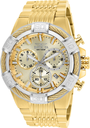 Invicta Men's Chronograph Watch - Bolt Gold Dial Yellow Steel Bracelet | 25868