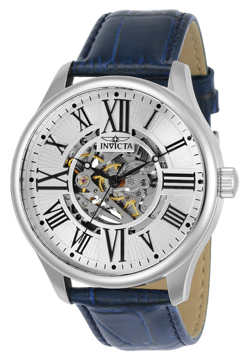 Invicta 23634 Men's Vintage Silver Semi-Skeleton Dial Blue Leather Strap Automatic Watch