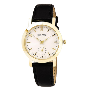 Bulova 97L159 Women's Classic Silver Dial Yellow Gold Plated Steel Black Leather Strap Watch