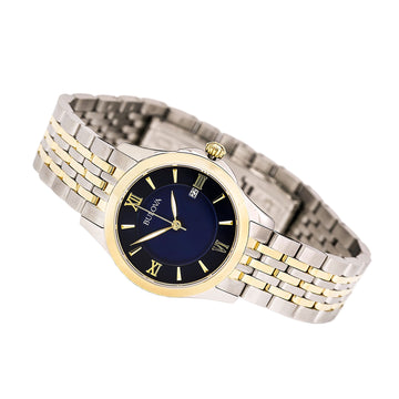 Bulova 98M124 Women's Classic Blue MOP Dial Two Tone Steel Watch