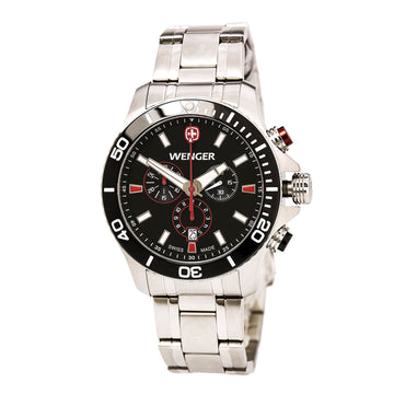 Wenger 0643.101 Men's Sea Force Steel Bracelet Swiss Quartz Chronograph Black Dial Dive Watch