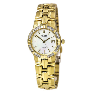 Citizen EU2672-51D Women's Yellow Steel Quartz Swarovski Crystal Mother of Pearl Dial Date Watch