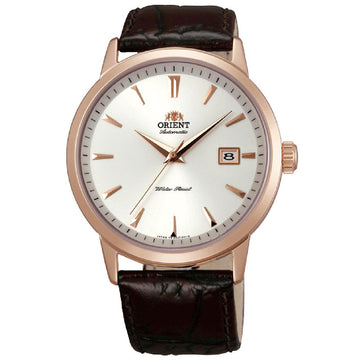Orient ER27003W Men's Symphony White Dial Rose Gold Steel Brown Leather Strap Automatic Watch