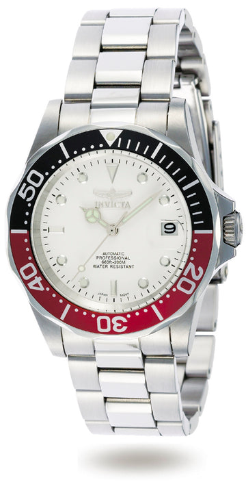 Invicta Men's Automatic Stainless Steel Watch - Pro Diver White Dial Date | 9404