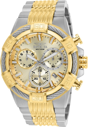 Invicta Men's Chronograph Watch - Bolt Gold Dial Two Tone Steel | 25864