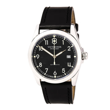 Swiss Army 241586 Men's Infantry Black Dial Black Leather Strap Mechanical Automatic Watch