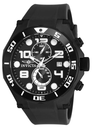 Invicta 15397 Men's Pro Diver Black Dial Black Strap Chrono Watch