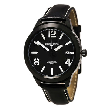 Jorg Gray JG1950-12 Men's Black Dial Quartz Black Leather Strap Date Watch