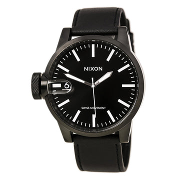 Nixon A127001 Men's The Chronicle Black IP Steel Black Leather Strap