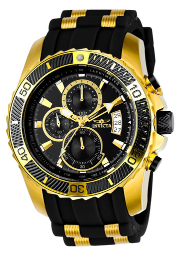 Invicta Men's Chronograph Watch - Pro Diver Steel & Polyurethane Strap Black Dial