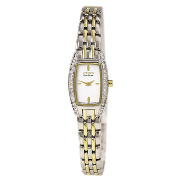 Citizen EG2744-52A Women's Two Tone Steel Eco Drive White Dial Silhouette Crystal Watch