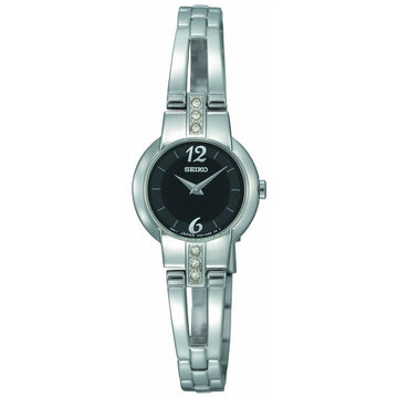 Seiko SUJG43 Women's Dress Crystal Accented Black Dial Steel Bracelet Watch