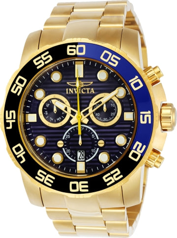 Invicta 21555 Men's Pro Diver Blue Dial Yellow Gold Steel Bracelet Chronograph Watch