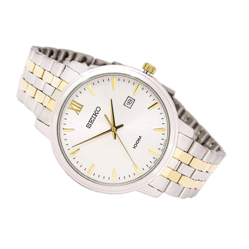 Seiko SUR121 Men's Two Tone Steel Bracelet Quartz Silver Tone Dial Date Watch