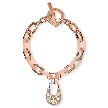 Michael Kors MKJ4888791 Crystal Accented Rose Gold Steel Blush Acrylic Heritage Women's Padlock Chain Bracelet