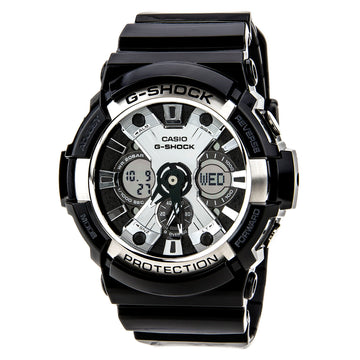 Casio Men's Dive Watch - G-Shock Alarm Resin Strap Ana-Digital Dial | GA200BW-1A