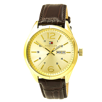 Tommy Hilfiger 1791059 Men's Charlie Quartz Gold Tone Dial Brown Leather