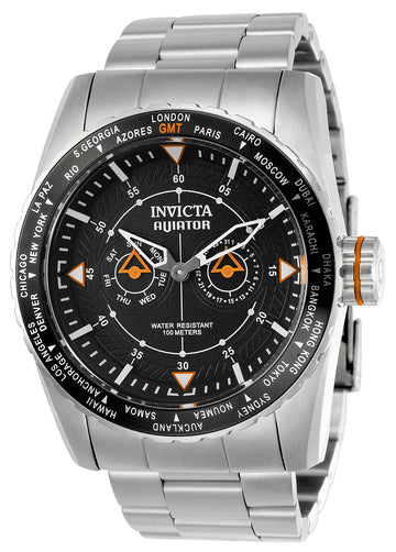 Invicta Men's World Time GMT Watch - Aviator Steel Bracelet Dark Grey Dial | 22984