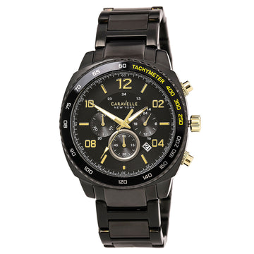 Caravelle 45B146 Men's Black Steel Bracelet Quartz Chrono Black Dial Date Watch