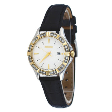 Seiko SXDF24 Women's White Dial Swarovski Crystal Two Tone Steel Leather Strap Watch