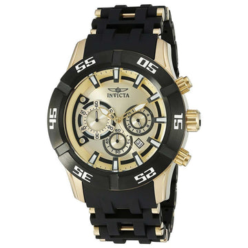 Invicta 21819 Men's Sea Spider Gold Tone Dial Chronograph Steel & Polyurethane Bracelet Watch