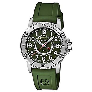 Wenger 01.1342.103 Men's Off Road GMT Green Silicone Strap Green Dial Swiss Date Watch