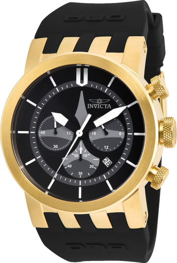 Invicta 25058 Men's DNA Grey & Black Dial Yellow Gold Steel Black Silicone Strap Chrono Watch