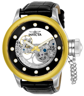 Invicta Men's Automatic Watch - Russian Diver Gold Bezel Black Leather Strap | 24594
