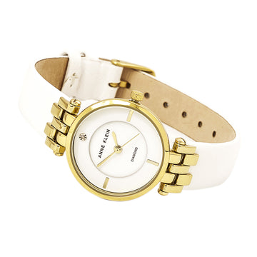 Anne Klein 2684WTST Women's White Leather Strap Quartz White Dial Diamond Watch Set