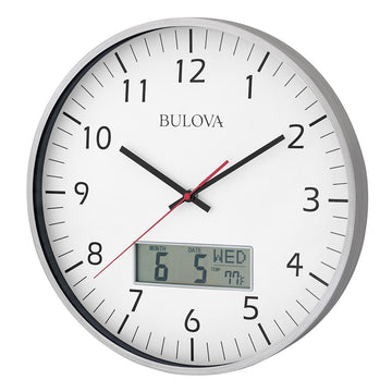 Bulova C4810 Manager White Analog-Digital Dial Brushed Aluminum Oversized Wall Clock