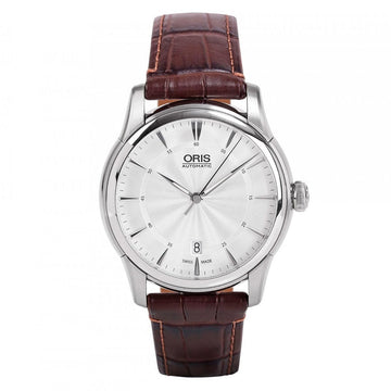 Oris 73376704051LS Men's Artelier Date Silver Dial Brown Leather Strap