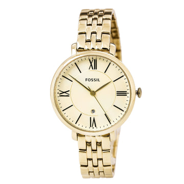 Fossil ES3434 Women's Jacqueline Champagne Dial Yellow Gold Steel Bracelet Watch