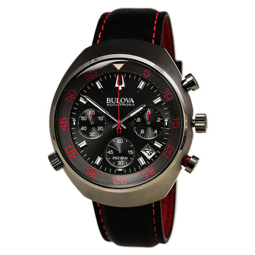Bulova Men's Chronograph Watch - Lobster Black Leather Black Dial | 98B252