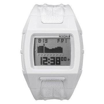 Nixon A3642017 Men's Lodown S White Polyurethane Strap Chronograph Grey Digital Dial Alarm Watch