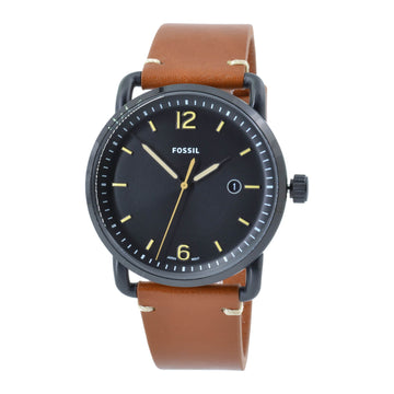Fossil FS5276 The Commuter Black Dial Men's Brown Band Watch