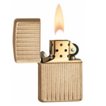 Zippo 28638 Vertical Gold Strips Tumbled Brass Classic Armor Windproof Pocket Lighter