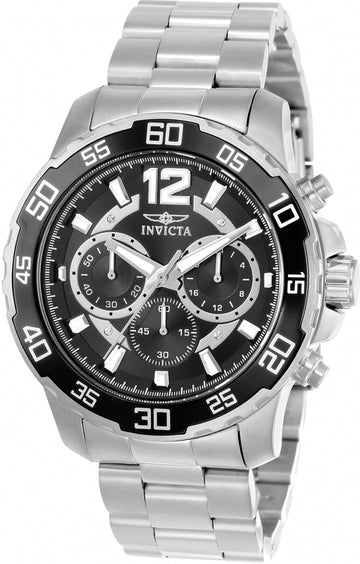 Invicta Men's Chronograph Watch - Pro Diver Black Dial Steel Bracelet | 22712