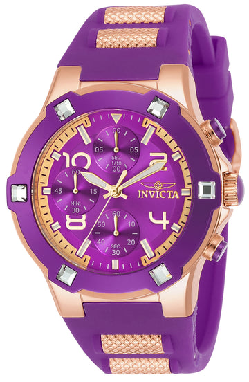 Invicta 24195 Women's BLU Purple Dial Steel & Silicone Strap Chronograph Crystal Watch