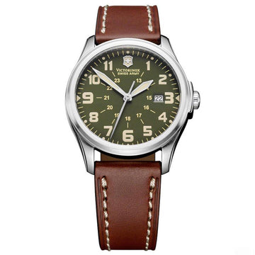Swiss Army 241309 Men's Infantry Vintage Green Dial Brown Leather Strap Watch