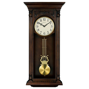 Bulova Chiming Wall Clock - Norwood II White Dial Brown Cherry Finished | C3514