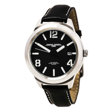 Jorg Gray JG1950-11 Men's Black Leather Strap Quartz Black Dial Date Watch
