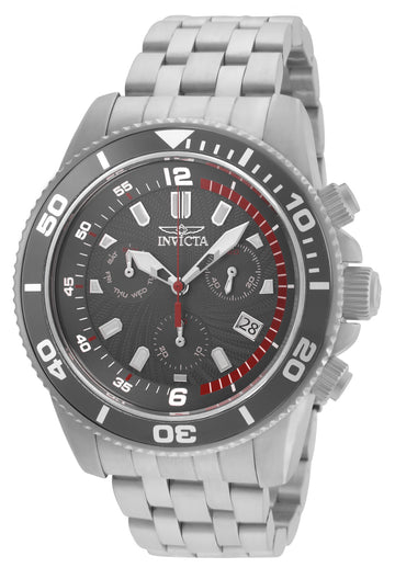 Invicta Men's Chronograph Watch - Pro Diver Charcoal Dial Steel Bracelet Dive | 24654