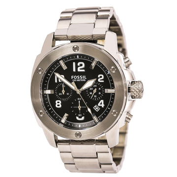 Fossil Men's Chronograph Watch - Modern Machine Black Dial Steel Bracelet | FS4926
