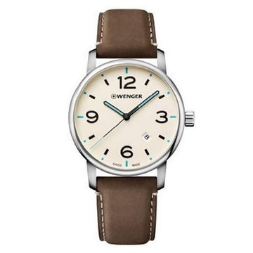Wenger 01.1741.118 Men's Urban Metropolitan Beige Dial Brown Leather Strap Watch