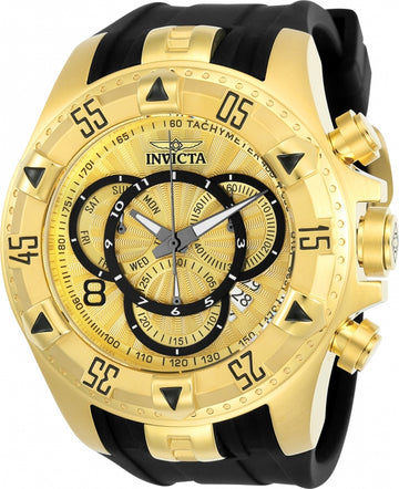Invicta 24273 Men's Excursion Gold Dial Black Silicone Strap Chrono Dive Watch